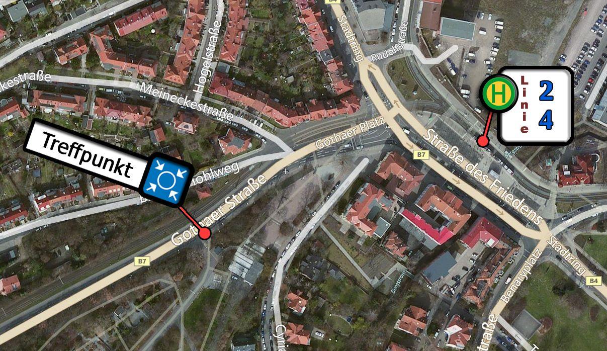 Anreiseplan zur Volkssternwarte Erfurt
